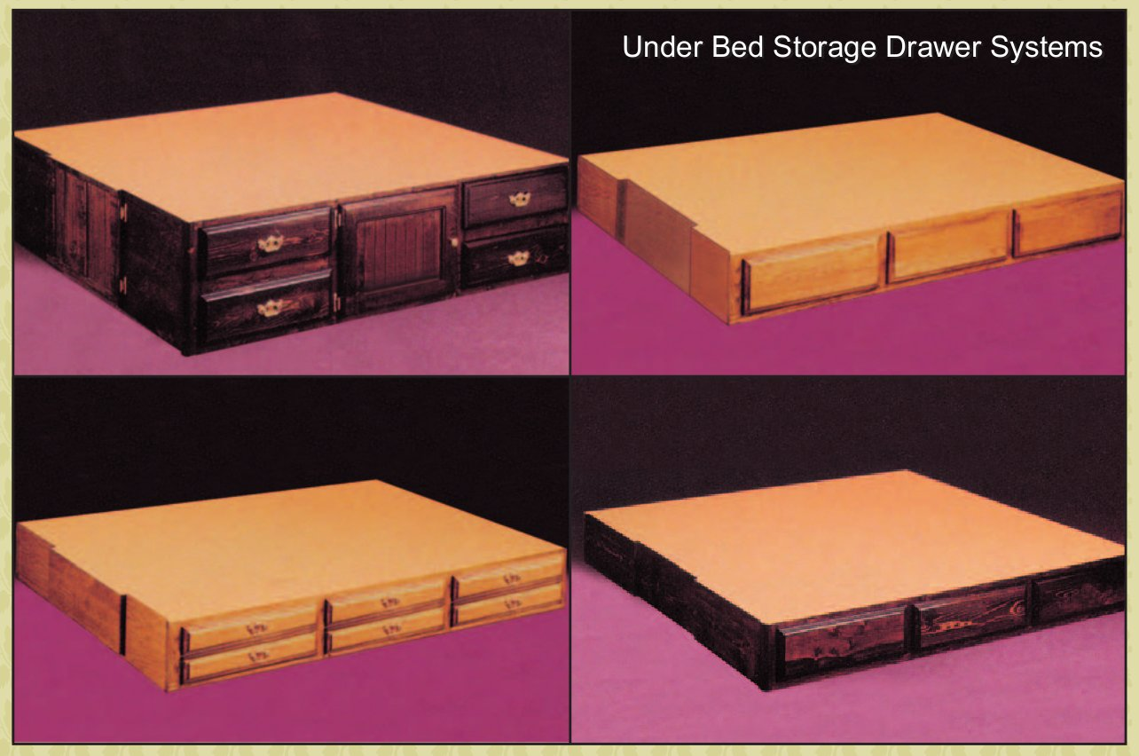 Waterbed underbed support and storage options.